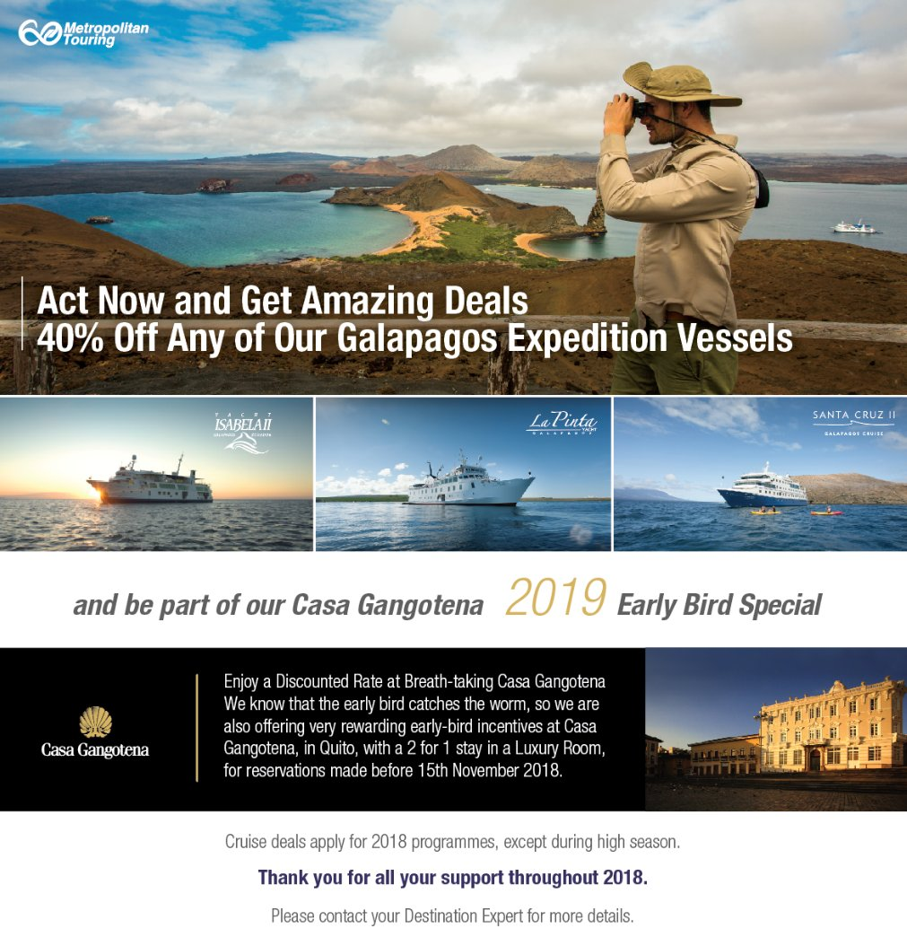 40% Off Galapagos Expeditions and Casa Gangotena Early Bird Special
